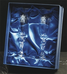 Pair of crystal flute glasses